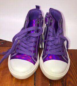 Clarks Metallic Purple High Top Sneakers Shoes Girls Sz 8.5 M