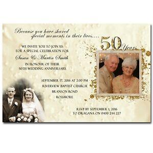 Wedding Anniversary Invitation with Photos - 50th Golden