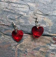 Red Crystal Heart Drop Earrings - Lovely ladies / girls gift - in gift bag
