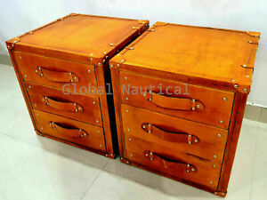 Pair of 2 Finest Leather Trunk 3 Draw Occasional Inspired Side Table Trunks