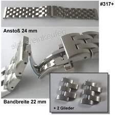 Butterfly-Uhrenarmband 24mm Edelstahl matt #317+2Glieder Schmetterlings-Schließe