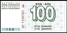 BOSNIA HERZEGOVINA ... P-24a ...100 DINARA ... (1992) *AU-UNC* ¡RARE NOTE! ERROR