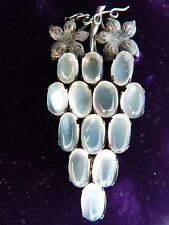 VICTORIAN MOONSTONE BROOCH MOONSTONE JEWELRY STERLING SILVER BROOCH 100YRS