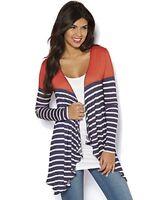 Women's UK Size 12-14 and 22-24 Navy White Striped Waterfall Cardigan