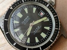 Vintage Buler Clama Divers Watch w/Warm Patina,Red Date,Massive Case,Runs Strong