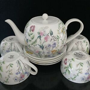 Marks and Spencer Fine China Spring Blooms Tea Set Floral Teapot 4 Cups Saucers