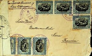 GUATEMALA 1917 12v DECLARATION OF INDEPENDENCE  ON CENSORED COVER TO FRANCE