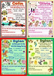 10 Personalised Children/Kids Birthday Party Invitations/thank you w/envelopes
