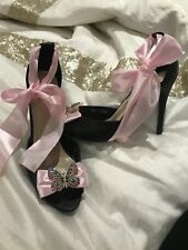 NEW Black Pink Heels Butterfly Shoes Size 8 Ladies Faux Leather Diamanté Prom