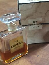 Vintage 1960's Chanel NO 5 Perfume Crystal Bottle 1/2 Fluid Oz 15% Full With Box