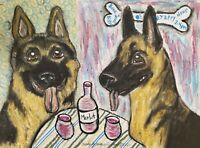 German Shepherd at Bistro Art Print 4x6 Dog Collectible Signed Artist KSams Wine