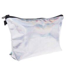 New Handbag Cosmetic Clutch MAKEUP BAG Organizer  holo graphic smooth Bag