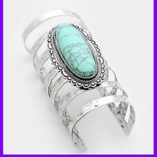 Oval Turquoise Wide Hammered Cuff Turquoise Cage Metal Fashion Bracelet Long