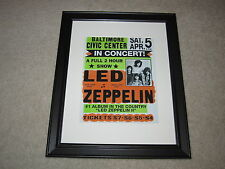 """Framed Led Zeppelin Concert Mini Poster, 1969 Led Zep II Tour, 14""""x16.5"""" RARE!"""