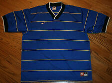 NIKE Team Sports blue striped v-neck Shirt Top Men's Large golf/running soccer