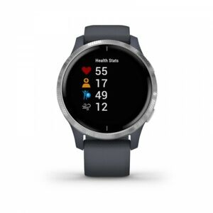 Garmin Venu AMOLED GPS Tracker - Granite Blue with Silver Hardware 010-02173-01