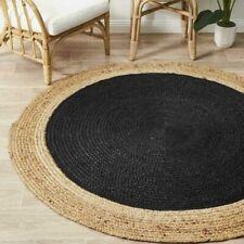 JUTE RUG ROUND Black Circle Natural Carpet mat Large Floor Rugs Various Size