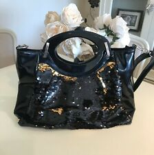 Black patent large sequin handbag long strap & handles ❤️