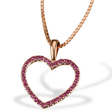 Goldmaid Kette Collier Red Heart 375er Rotgold 30 Rubine 0,18 ct Venizianerkette