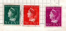 NETHERLANDS- -1948 Queen Wilhelmina - New Drawing lot of 3; used; *bl
