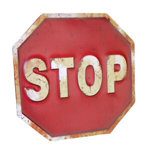 """Red Metal """"STOP"""" Sign Rustic Industrial Traffic Road Warning Safety Wall Plaque"""