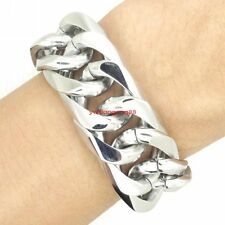 """9"""" New Heavy Mens Curb Bracelet 316L Stainless Steel Fashion Jewelry Silver 20mm"""