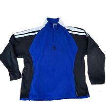 Adidas Vintage Y2K Blue Soft Fleece 1/4 Zip Pullover Jacket Size XL Men's