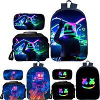 DJ Marshmello Backpack Students School Bag Pencil Case Lunch Bag Cooler Bag 3PCS