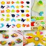 12PCS Refrigerator Magnets Wooden Colorful Cartoon Patterns Fridge Decorations