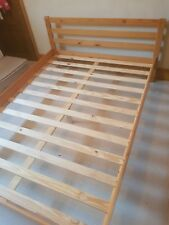 "Double Bed Frame, 4'6"" in Pine With Slatted Headboard"