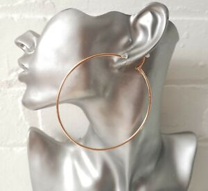 8cm large ROSE gold tone plain wire CLIP - ON hoop earrings