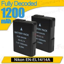 EN-EL14 Nikon Battery 2XLI-ion D3200 D3100 P7100 COOLPIX P7000 DSLR camera for