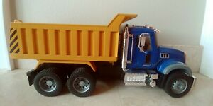 """21"""" 2007 Blue And Yellow MACK Bruder Dump Truck. Made In Germany"""
