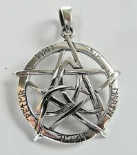 Sterling Silver (925)  Pentagram  In  Celtic  Triangle   Pendant   !!    New  !!