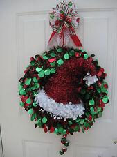 "Christmas Wreath Red Green Tinsel Dot  Santa Hat Jingle Bells Custom Design 19"""