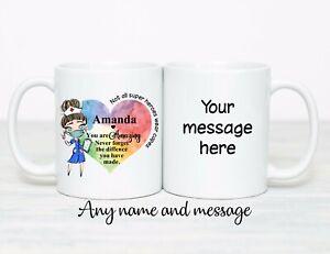 Personalised Nurse Mug Gift matching Coaster Birthday nursing hero thank you