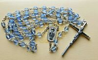 """Vintage Blue Faceted Glass Beads, Silver Tone Crucifix Rosary Necklace, 22"""" drop"""