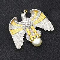 Betsey Johnson Enamel Crystal Pearl Flying Eagle Charm Brooch Pin Jewelry Gift