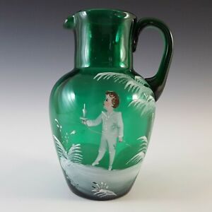 Mary Gregory Victorian Hand Enamelled Green Glass Jug