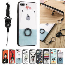 Cute Cartoon Finger Ring Soft Strap Stand Case Cover For iPhone 8 Plus X 7 Plus
