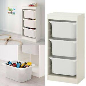 Ikea TROFAST Storage Combination w/ Children's Play Plastic Boxes 46x30x94 White