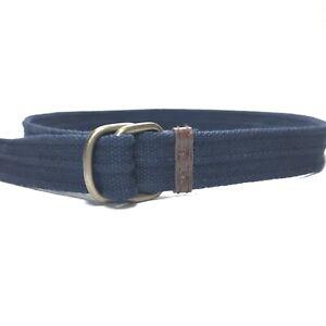 Women's US Polo Assn. Blue Canvas D Ring Belt Silver Tone Buckle Size 32