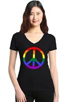 Rainbow Peace Sign Women's V-Neck T-shirt Gay Pride Rainbow Equal Rights Tee