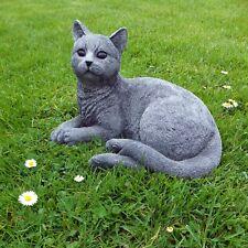 Steinfigur Katze liegend Mieze Deko Tierfigur Gartenfigur Steinguss Frostfest