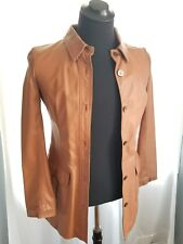 $3995 ULTRA LUXURY AGNONA WOMEN'S LEATHER JACKET IT 42 US 6 COGNAC MADE IN ITALY