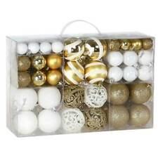Confezione 100 Palline Natale Oro e Bianco Diametro 3/4/6 cm Addobbo Natalizio