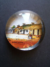 Rare Victorian Small Round Paperweight Robert Burns Cottage Alloway Ayrshire