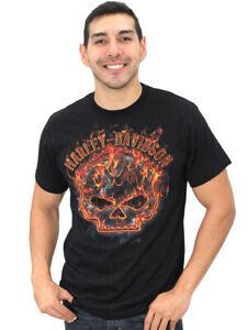 Harley-Davidson Mens Flames Willie G Skull Black Short Sleeve Biker T-Shirt