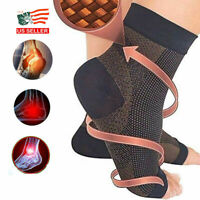 2 Pairs Magnetic Copper Compression Relief Ankle Support Brace Foot Sleeve Socks