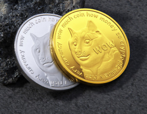 2PC 2018 Dogecoin CryptoCoin Gold Plated collectible Commemorative